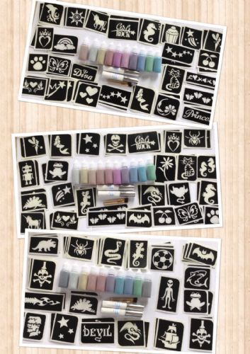 GLITTER TATTOO PARTY KIT 50 stencils-10 puffers-2 glue GIRL/BOY/MIXED-250 tats